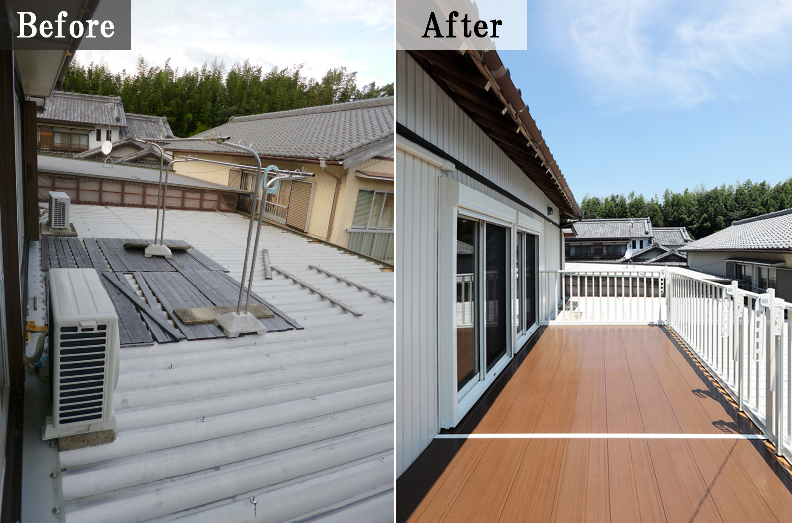 1階の屋根を利用した簡易物干しスペースも安全なバルコニーになりました。