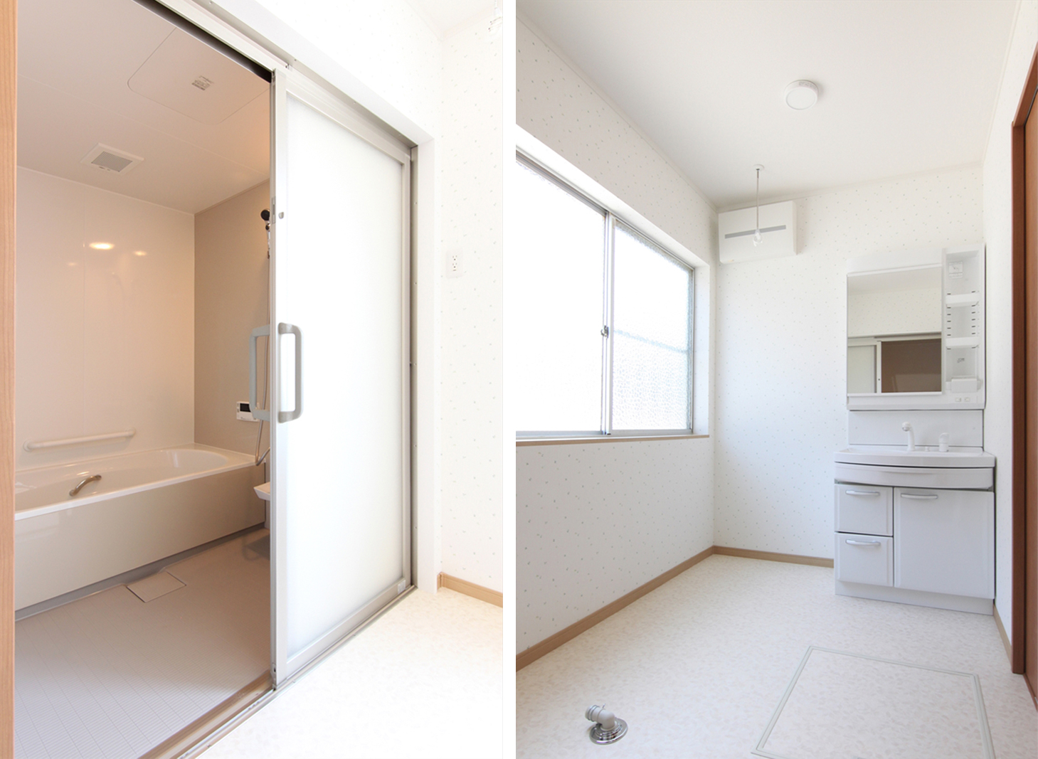 水まわりもゆったりと。バスルームも引き戸で段差無く入れます。